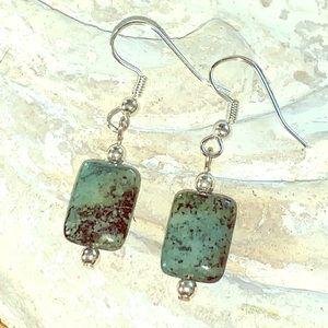 Green jasper stone and sterling silver earrings